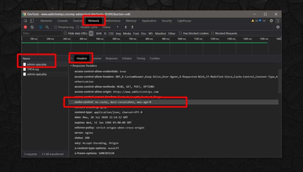 php header cache