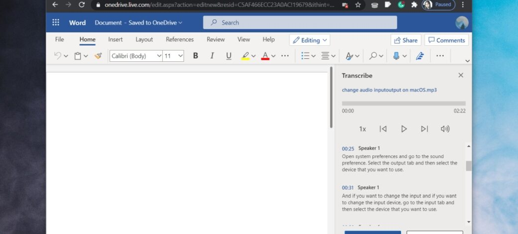 How to transcribe audio with Office 365 online