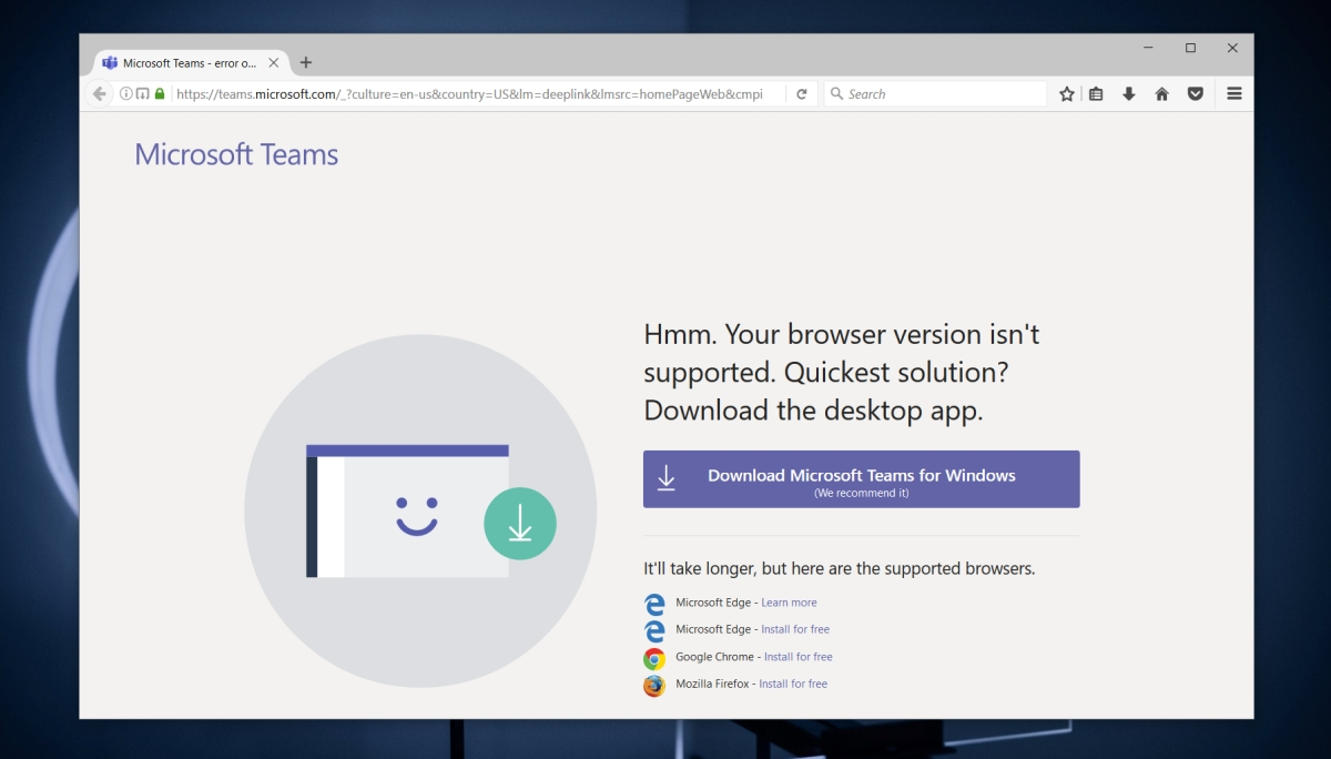 Microsoft Teams browser version is not supported
