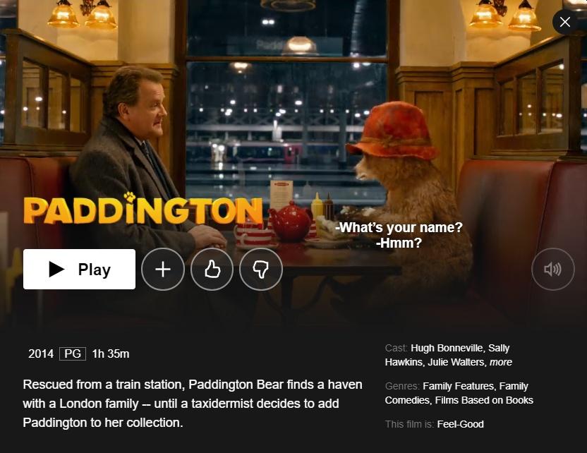 Paddington on Netflix