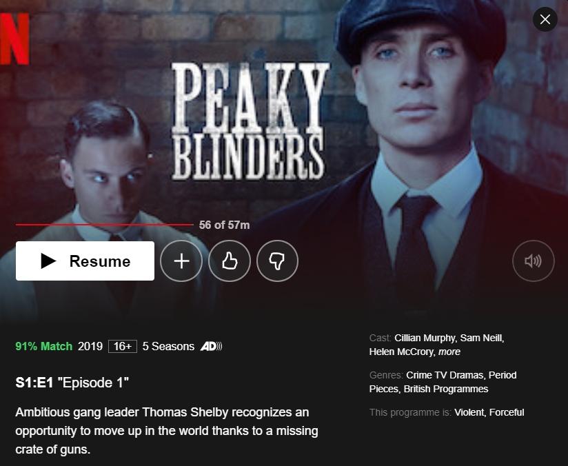 Peaky Blinders on Netflix