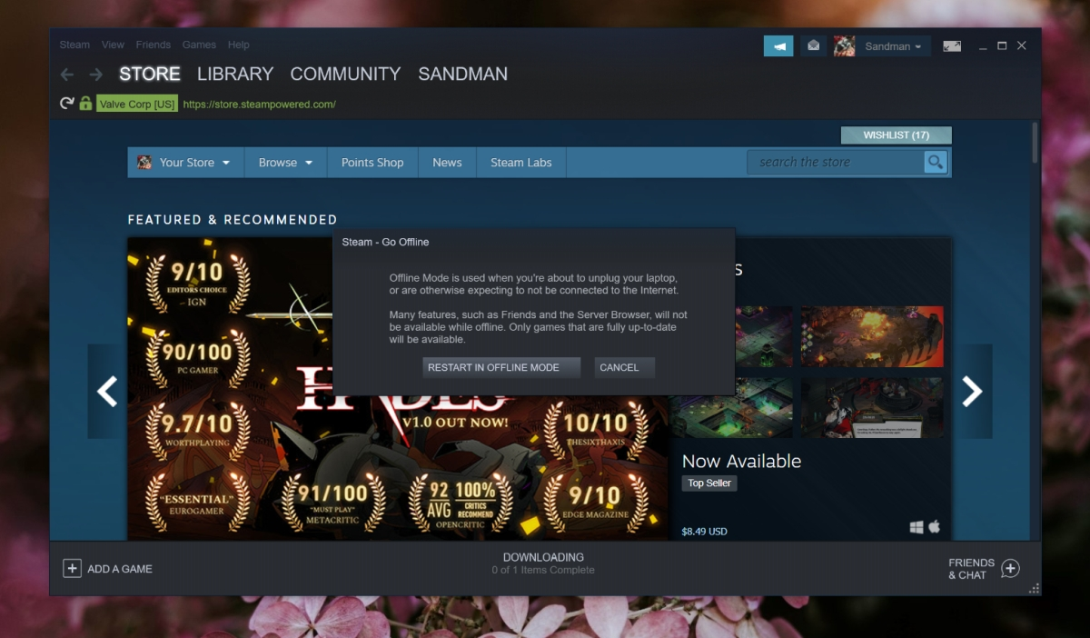 steam offline mode