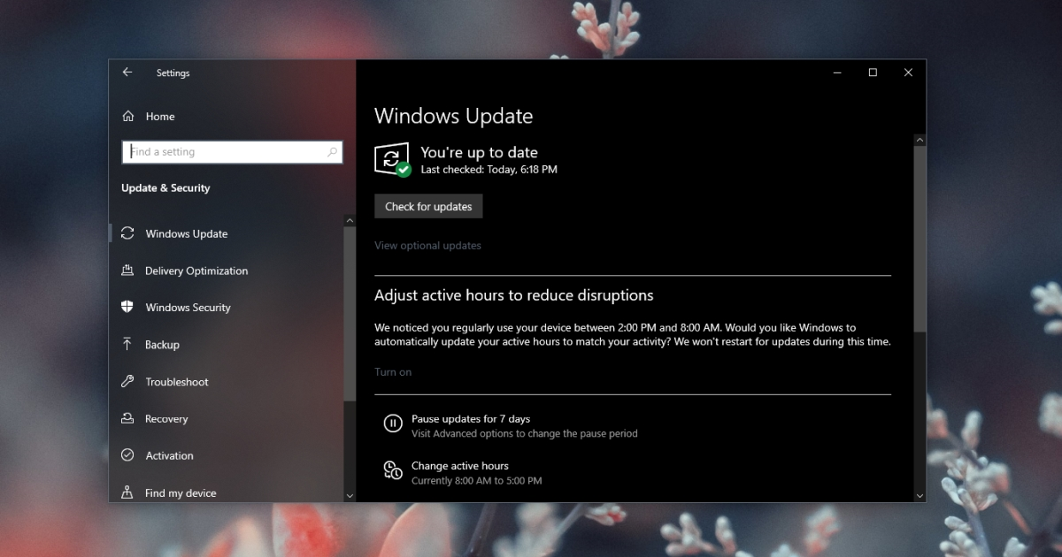 windows update check
