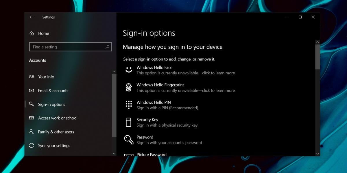 Windows Hello Not Available