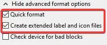 Rufus drive Formatting options