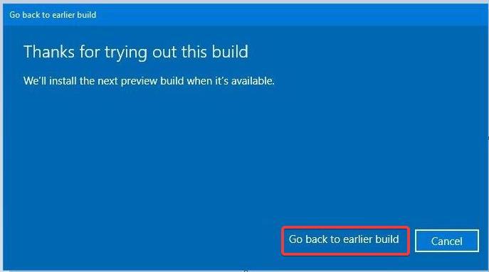 Restore previous Windows 10 build