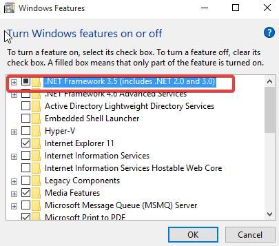 Select .NET Framework 3.5