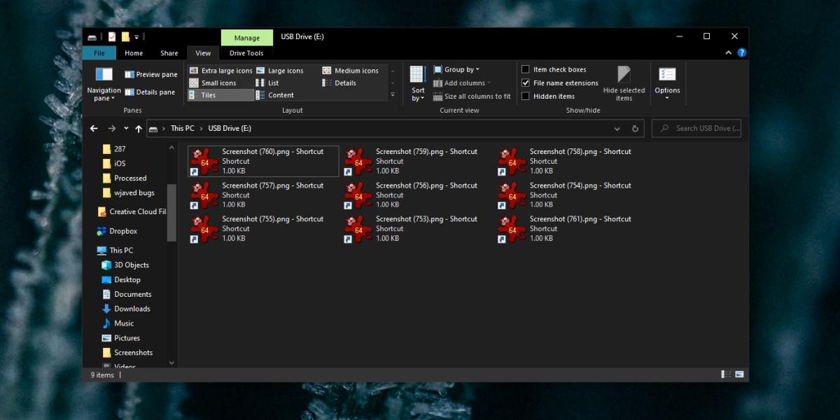 Flash drive files become shortcuts