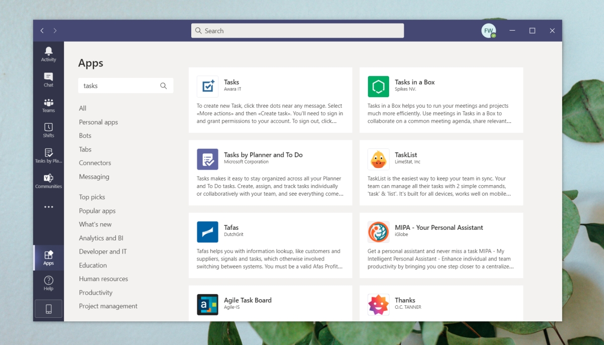 tasks in Microsoft teams