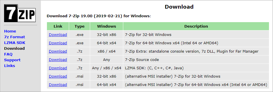 The 7-Zip download page