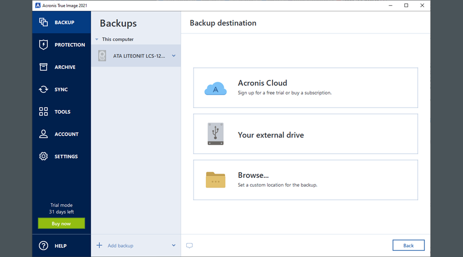 Acronis True Image 2021 shows how to select a backup destination