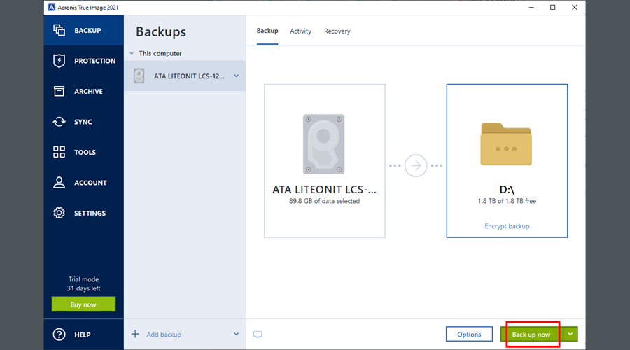 Acronis True Image 2021 highlights the Backup now button