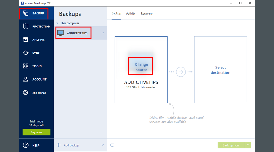 Acronis True Image 2021 shows the Backup section