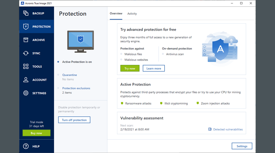 Acronis True Image 2021 highlights the Protection area