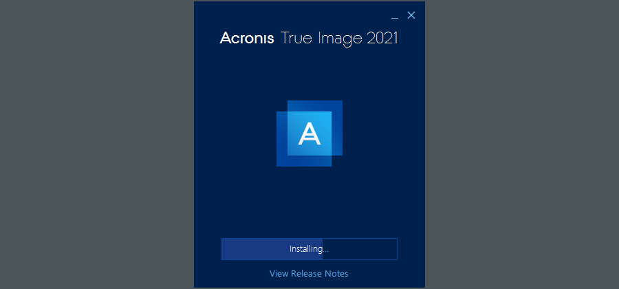 The installation page of Acronis True Image 2021