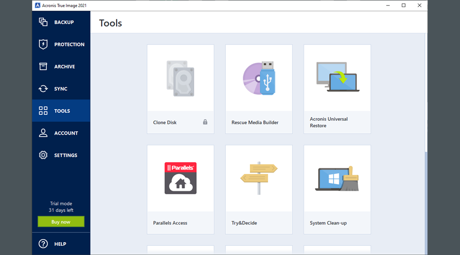 Acronis True Image 2021 highlights the Tools section