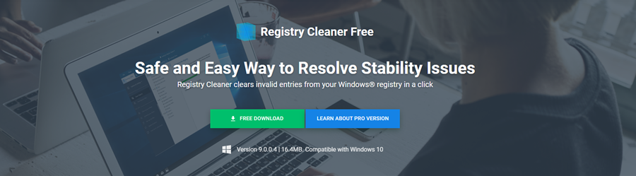 The Auslogics Registry Cleaner download page