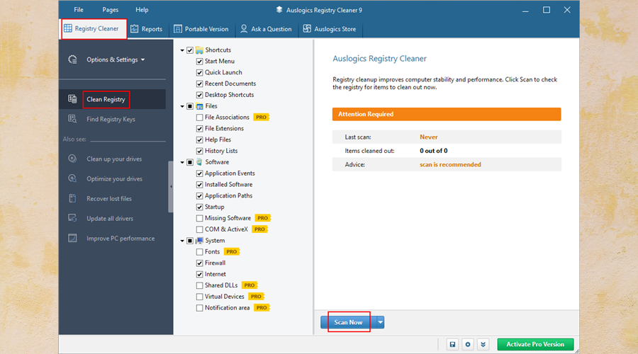 Auslogics Registry Cleaner shows how to scan the registry