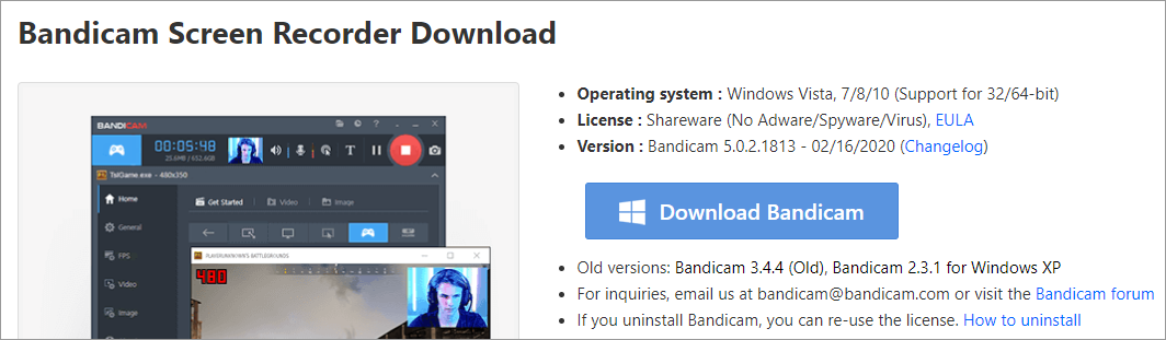 The Bandicam download page