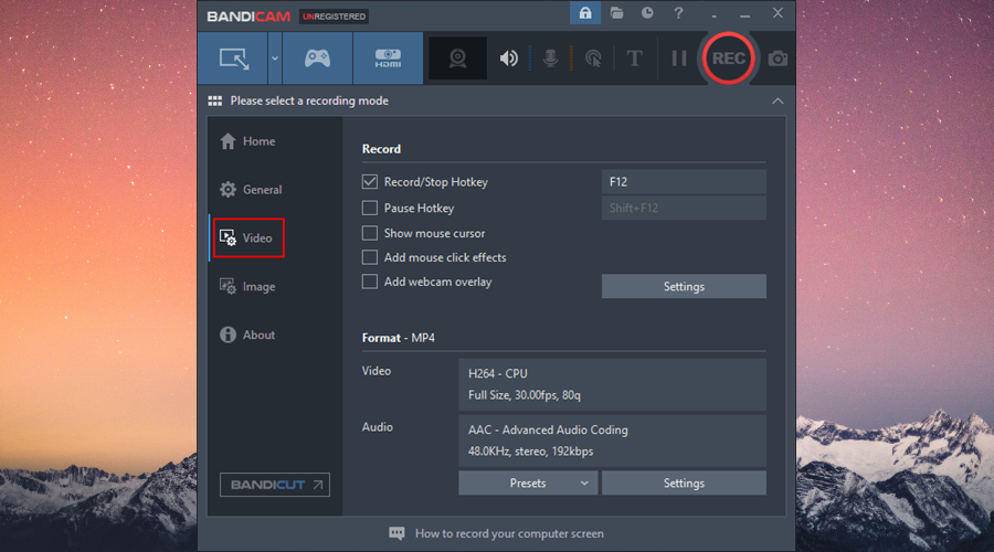 Bandicam shows the video settings