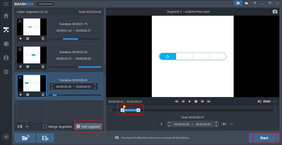 Bandicat shows how to cut segments
