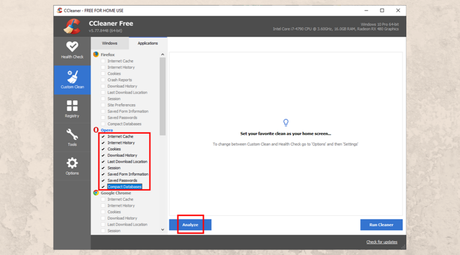 CCleaner shows the Custom Clean section