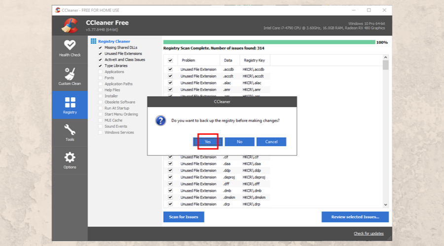 CCleaner asks to create a registry backup