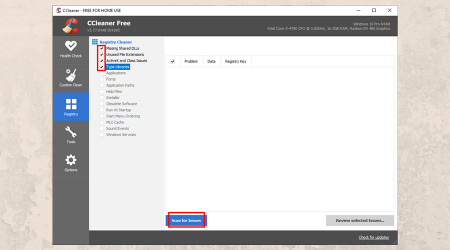 CCleaner highlights the registry cleaner