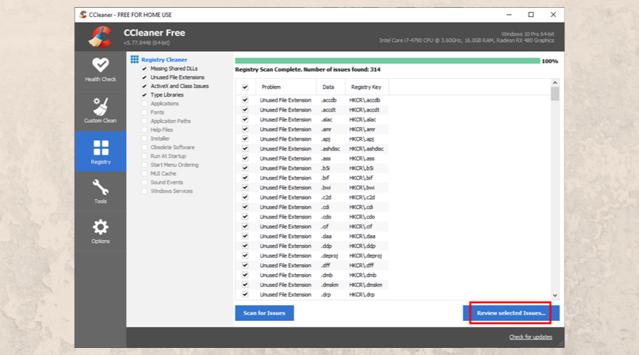 CCleaner asks you to review registry issues