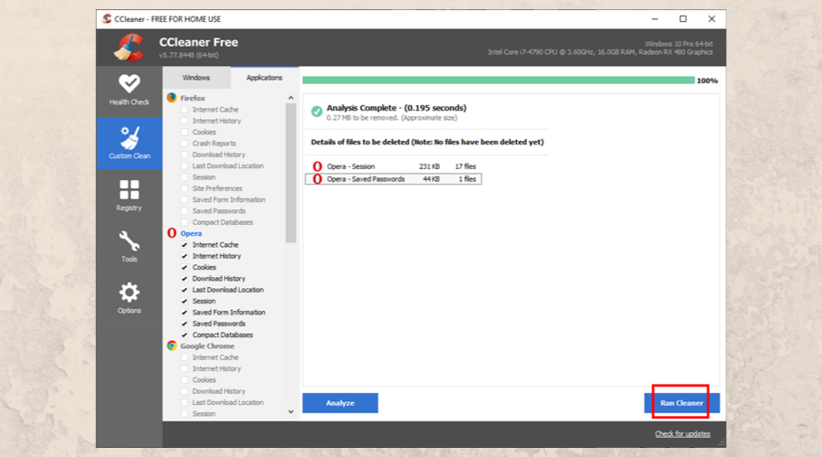 The Custom Cleaner feature of CCleaner highlights the Run cleaner button
