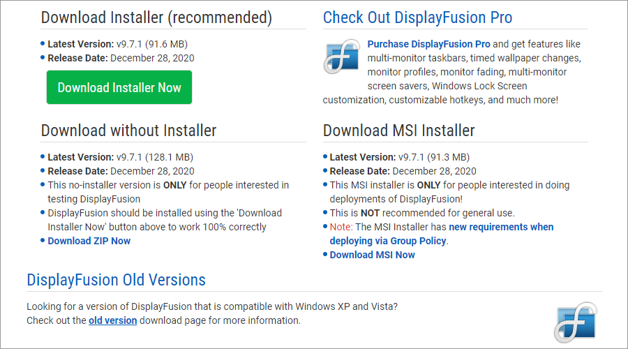 The DisplayFusion download page