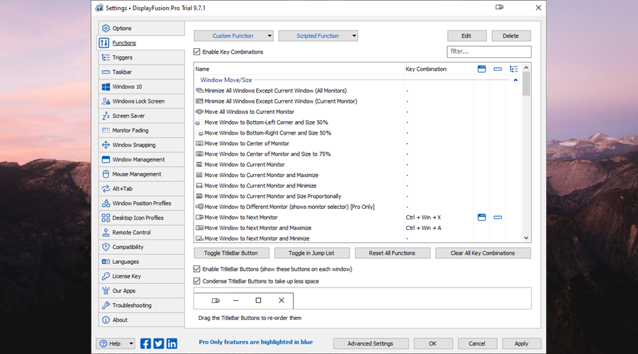 DisplayFusion shows the hotkey settings