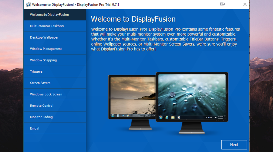 The welcoming screen of DisplayFusion