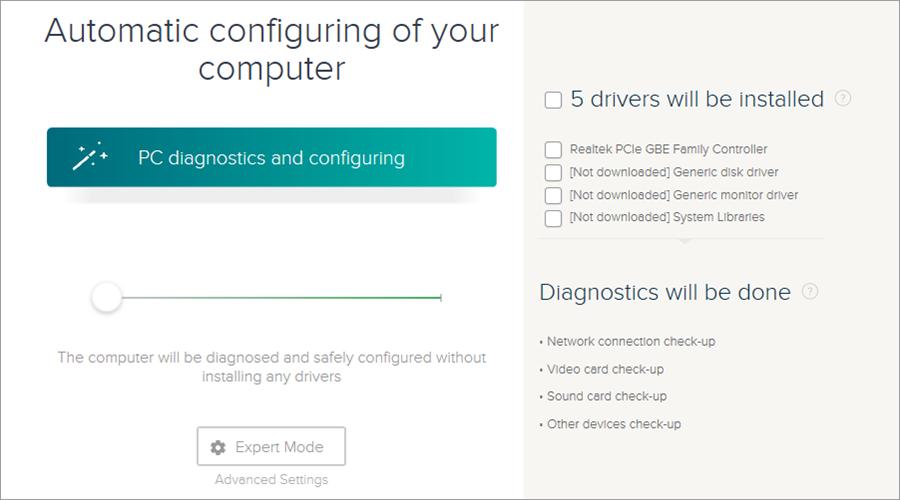 DriverPack Solution runs a diagnosis