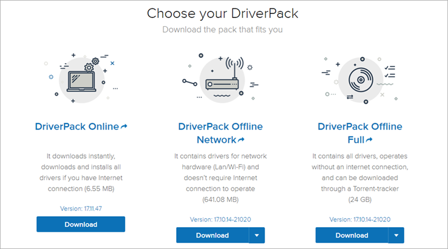 The download versions of DriverPack Solutio