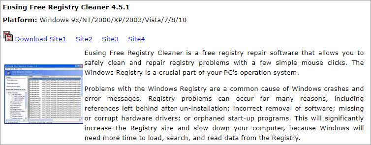 The Eusing Free Registry Cleaner download page