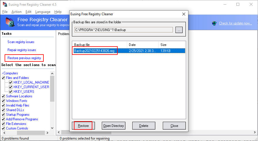 Eusing Free Registry Cleaner shows how to restore a backup