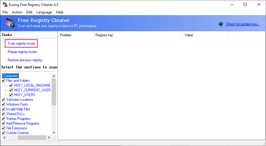 Eusing Free Registry Cleaner shows how to run a scan