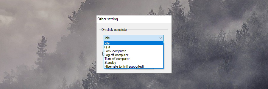 GS Auto Clicker shows the post-task settings