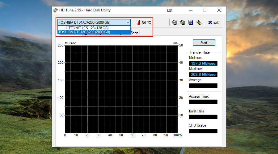 HD Tune shows how to select a disk