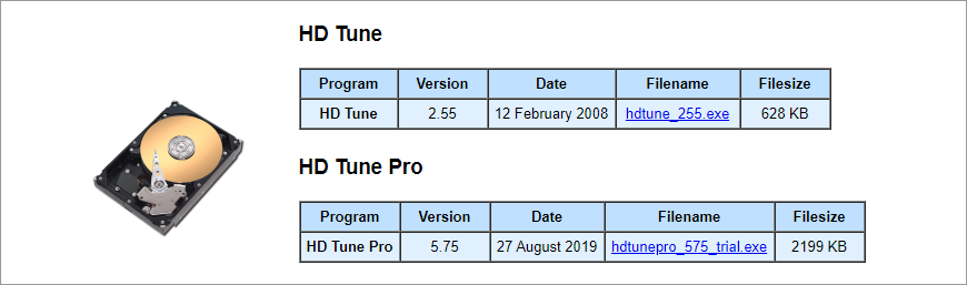 The download page of HD Tune and HD Tune Pro
