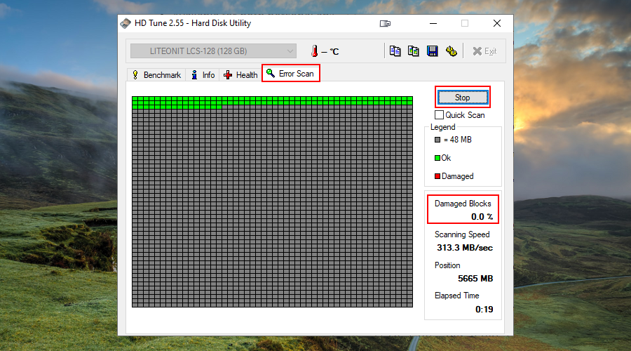 HD Tune shows how to start a disk error scan to view damaged blocks