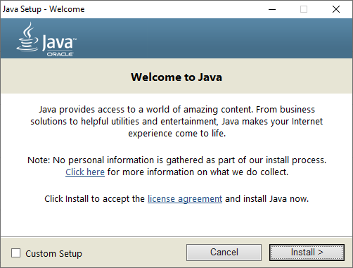 The Java JRE installation stage