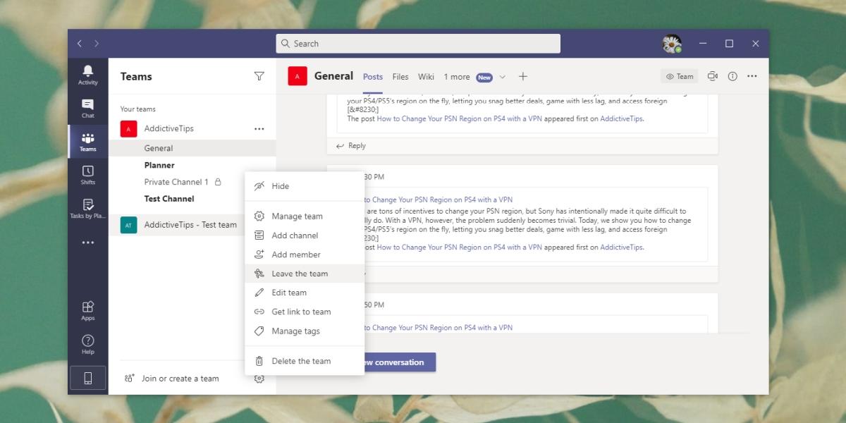 Leave a Microsoft Team - Desktop