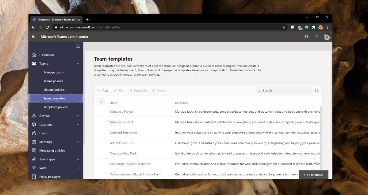 Microsoft Teams template