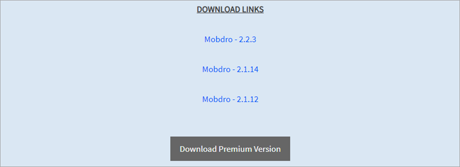 The Mobdro download page