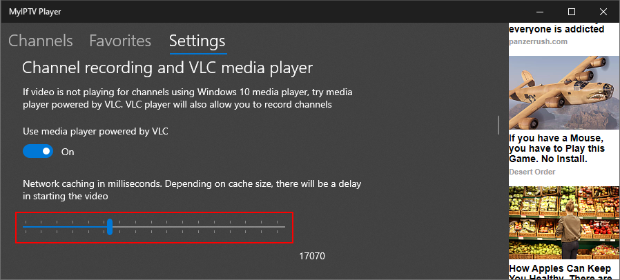 MyIPTV Player highlights the VLC network caching setting