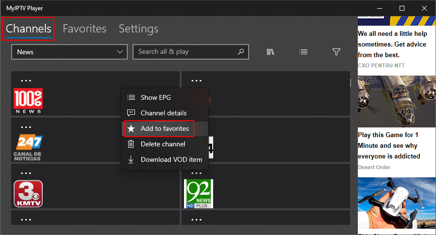 MyIPTV Player shows how to add channels to favorites