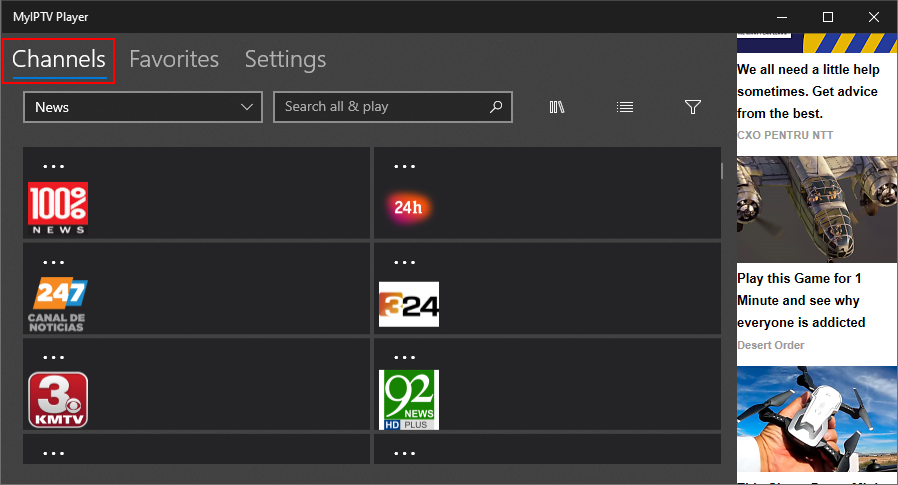 MyIPTV Player highlights the Channels area