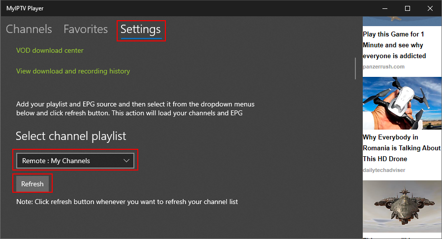 MyIPTV Player highlights the channel playlist selection section